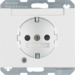 41107009 SCHUKO socket outlet with control LED with labelling field,  enhanced contact protection,  Screw-in lift terminals,  Berker K.1, polar white glossy
