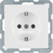 41236089 SCHUKO socket outlet with enhanced touch protection,  Screw-in lift terminals,  polar white velvety