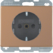 41350007 SCHUKO socket outlet with enhanced touch protection,  Screw-in lift terminals,  Berker Arsys Kupfer Med,  copper,  natural metal