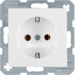 41438989 SCHUKO socket outlet with screw-in lift terminals,  polar white glossy