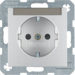 41491404 SCHUKO socket outlet with labelling field,  enhanced contact protection,  Screw-in lift terminals,  aluminium,  matt,  lacquered