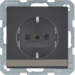 41496086 SCHUKO socket outlet with labelling field,  enhanced contact protection,  Screw-in lift terminals,  anthracite velvety,  lacquered