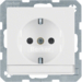 41496089 SCHUKO socket outlet with labelling field,  enhanced contact protection,  Screw-in lift terminals,  polar white velvety