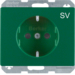 "47150073 SCHUKO socket outlet with ""SV"" imprint Berker Arsys,  green glossy"