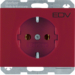 "47157115 SCHUKO socket outlet with ""EDV"" imprint Berker K.1, red glossy"