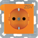 "47231907 SCHUKO socket outlet with ""ZSV"" imprint enhanced contact protection,  orange"