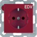 "47238922 SCHUKO socket outlet with ""EDV"" imprint enhanced contact protection,  red"