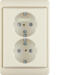 47290002 Double SCHUKO socket outlet with frame enhanced contact protection,  Berker Arsys,  white glossy