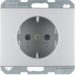 47357003 SCHUKO socket outlet with enhanced touch protection,  Berker K.5, Aluminium,  aluminium anodised