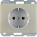 47357004 SCHUKO socket outlet with enhanced touch protection,  Berker K.5, stainless steel,  metal matt finish