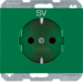 "47357113 SCHUKO socket outlet with ""SV"" imprint enhanced contact protection,  Berker K.1, green"