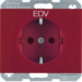 "47357115 SCHUKO socket outlet with ""EDV"" imprint enhanced contact protection,  Berker K.1, red"
