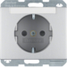 47387003 SCHUKO socket outlet with labelling field,  enhanced contact protection,  Berker K.5, aluminium,  matt,  lacquered