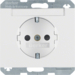 47387009 SCHUKO socket outlet with labelling field,  enhanced contact protection,  Berker K.1, polar white glossy