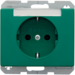 47390063 SCHUKO socket outlet with labelling field,  Berker Arsys,  green glossy