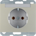 47397004 SCHUKO socket outlet with labelling field,  Berker K.5, stainless steel matt,  lacquered