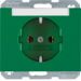 47397013 SCHUKO socket outlet with labelling field,  Berker K.1, green glossy