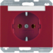 47397015 SCHUKO socket outlet with labelling field,  Berker K.1, red glossy