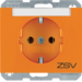 "47397114 SCHUKO socket outlet with ""ZSV"" imprint Labelling field,  Berker K.1, orange glossy"