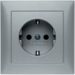 47429939 SCHUKO socket outlet with cover plate Berker S.1, aluminium matt,  lacquered