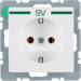 "47436039 SCHUKO socket outlet with ""SV"" imprint in green polar white velvety"