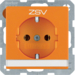 "47506014 SCHUKO socket outlet with ""ZSV"" imprint Labelling field,  orange velvety"