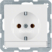 47506089 SCHUKO socket outlet with labelling field,  polar white velvety