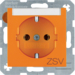 "47508914 SCHUKO socket outlet with ""ZSV"" imprint Labelling field,  orange glossy"