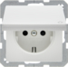 47516089 SCHUKO socket outlet with hinged cover enhanced contact protection,  polar white velvety