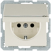 47526082 SCHUKO socket outlet with hinged cover with labelling field,  enhanced contact protection
