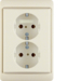 47530002 Double SCHUKO socket outlet with frame Berker Arsys,  white glossy