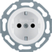 4755 SCHUKO socket outlet with enhanced touch protection,  Mounting orientation variable in 45° steps,  Serie 1930/Glas,  polar white glossy