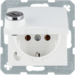 47631909 SCHUKO socket outlet with hinged cover Lock - differing lockings,  polar white matt