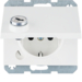 47637009 SCHUKO socket outlet with hinged cover Lock - differing lockings,  Berker K.1, polar white glossy