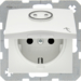 47861949 SCHUKO socket outlet with hinged cover for accessible construction with tactile symbol,  polar white matt