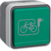 6745643513 Socket outlet with earthing pin and green hinged cover and imprinted symbol e-bike surface-mounted Berker W.1