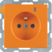 6765096014 Socket outlet with earth contact pin and monitoring LED with enhanced touch protection,  Screw-in lift terminals,  orange velvety