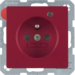 6765096015 Socket outlet with earth contact pin and monitoring LED with enhanced touch protection,  Screw-in lift terminals,  red velvety