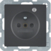 6765096086 Socket outlet with earthing pin and control LED with enhanced touch protection,  Screw-in lift terminals,  anthracite velvety,  lacquered