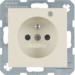 6765098982 Socket outlet with earth contact pin and monitoring LED with enhanced touch protection,  Screw-in lift terminals,  Berker S.1, white glossy