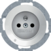 6765102089 Socket outlet with earthing pin and LED orientation light enhanced contact protection,  Screw-in lift terminals,  Serie R.classic,  polar white glossy