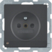 6765106086 Socket outlet with earthing pin and LED orientation light enhanced contact protection,  Screw-in lift terminals,  anthracite velvety,  lacquered