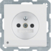 6765106089 Socket outlet with earthing pin and LED orientation light enhanced contact protection,  Screw-in lift terminals,  polar white velvety