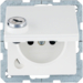 6765116089 Socket outlet with earthing pin and hinged cover with lock - differing lockings,  with screw-in lift terminals,  Berker Q.1, polar white velvety