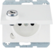 6765117009 Socket outlet with earthing pin and hinged cover with lock - differing lockings,  with screw-in lift terminals,  Berker K.1, polar white glossy