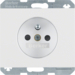 6765757009 Socket outlet with earthing pin with enhanced touch protection,  with screw-in lift terminals,  Berker K.1, polar white glossy