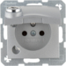 6768111404 Socket outlet with earthing pin and hinged cover with lock - differing lockings,  Berker B.7, aluminium,  matt,  lacquered