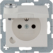 6768111909 Socket outlet with earthing pin and hinged cover with lock - differing lockings,  polar white matt