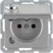 6768116084 Socket outlet with earthing pin and hinged cover with lock - differing lockings,  Berker Q.1, aluminium,  matt,  lacquered