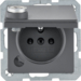 6768116086 Socket outlet with earthing pin and hinged cover with lock - differing lockings,  Berker Q.1